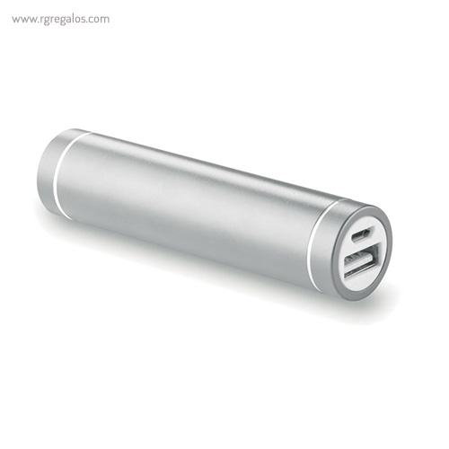 Power bank 2200 mAh cilíndrico plata - RG regalos publicitarios