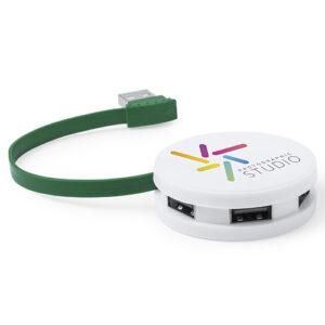4 puertos USB redondo verde - RGregalos publicitarios
