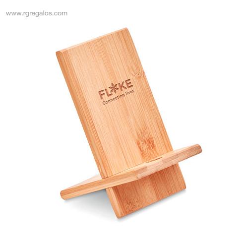 Soporte-para-móvil-de-bambú-logo-RG-regalos-empresa