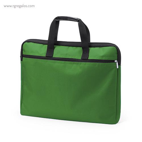 Portadocumentos de poliéster acolchado verde - RG regalos publicitarios