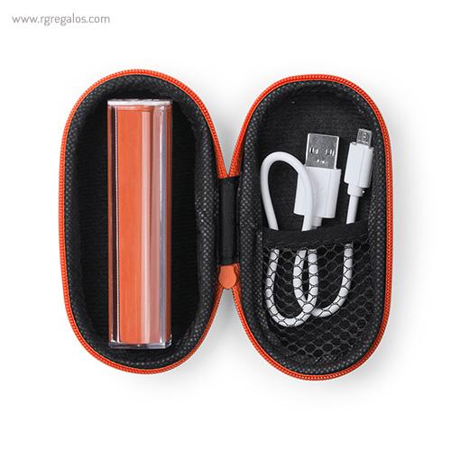 Power Bank 2200 mAh con estuche naranja - RG regalos publicitarios