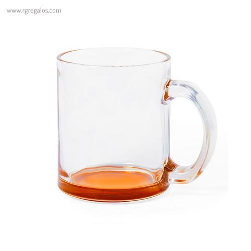 Taza de cristal base color naranja - RG regalos publicitarios