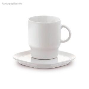Taza y plato square blanca - RG regalos publicitarios
