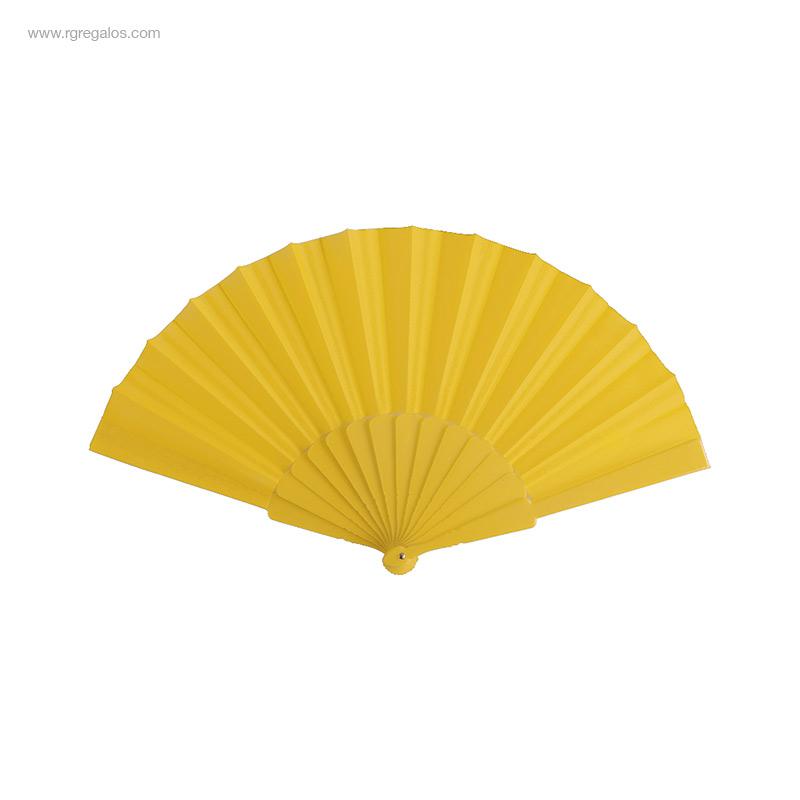 Abanico-tela varillas-plástico-amarillo-RG-regalos-publicitarios