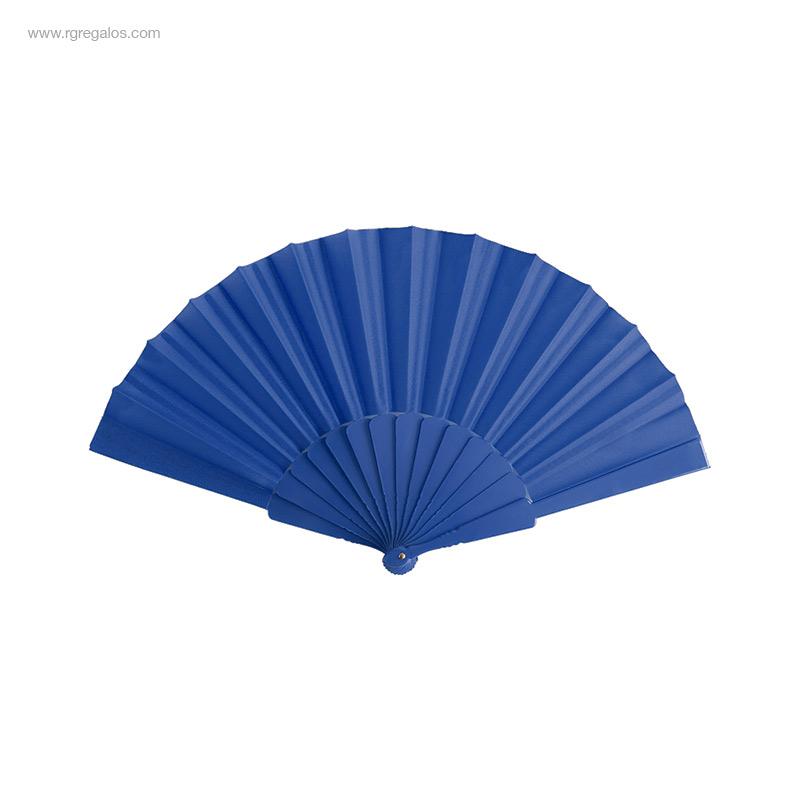 Abanico-tela varillas-plástico-azul-RG-regalos-publicitarios