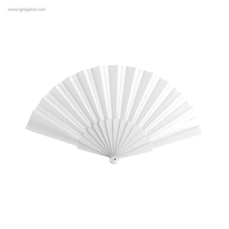 Abanico-tela varillas-plástico-blanco-RG-regalos-publicitarios