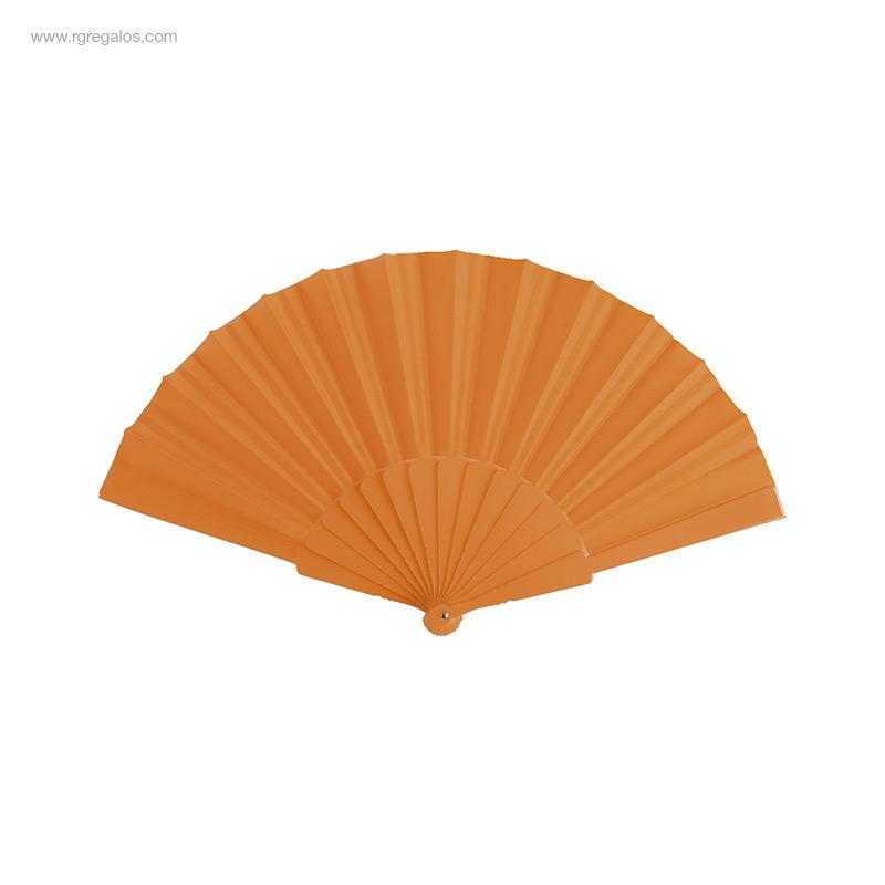 Abanico-tela varillas-plástico-naranja-RG-regalos-publicitarios