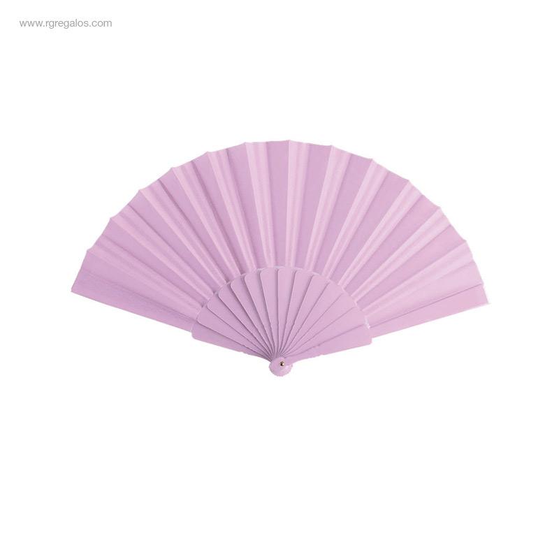 Abanico-tela varillas-plástico-rosa-RG-regalos-publicitarios