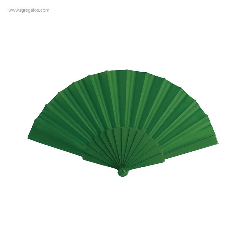 Abanico-tela varillas-plástico-verde-RG-regalos-publicitarios