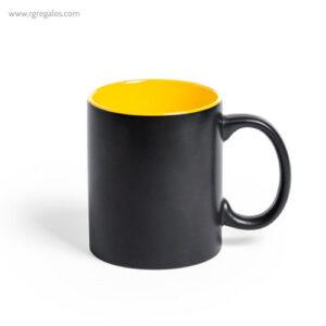 Taza de cerámica negra 350 ml amarilla - RG regalos publicitarios