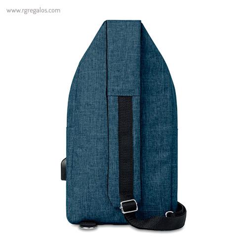 Bandolera de poliéster para portátil azul frontal - RG regalos publicitairos