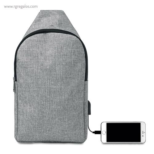 Bandolera de poliéster para portátil gris móvil - RG regalos publicitairos