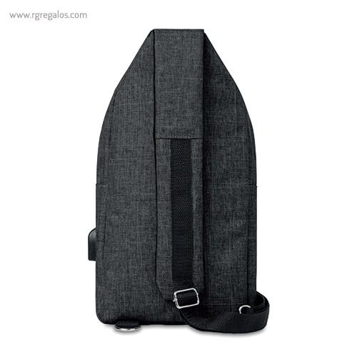 Bandolera de poliéster para portátil negra atrás - RG regalos publicitairos