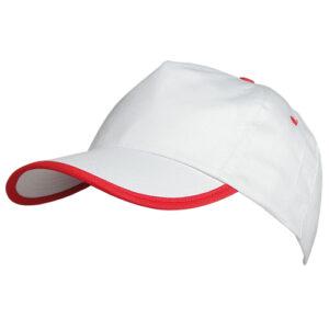 Gorra 5 paneles con ribete de color blanca roja - RGregalos