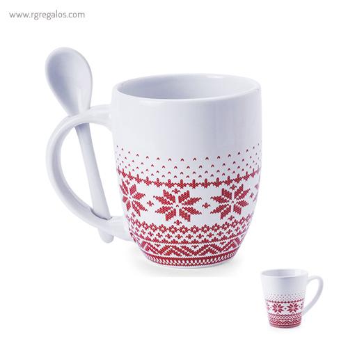 taza de cerámica navidad con cuchara - RG regalos