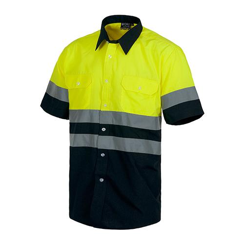 Camisa alta visibilidad bicolor MC amarilla - RG regalos publicitarios