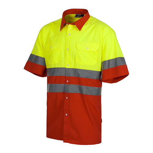 Camisa alta visibilidad combinada rojo - RG regalos publicitarios