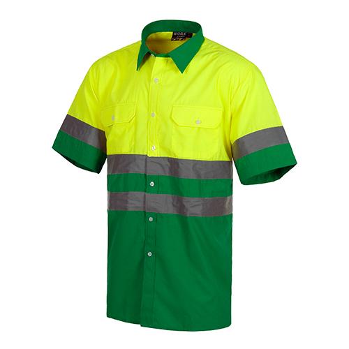 Camisa alta visibilidad combinada verde - RG regalos publicitarios