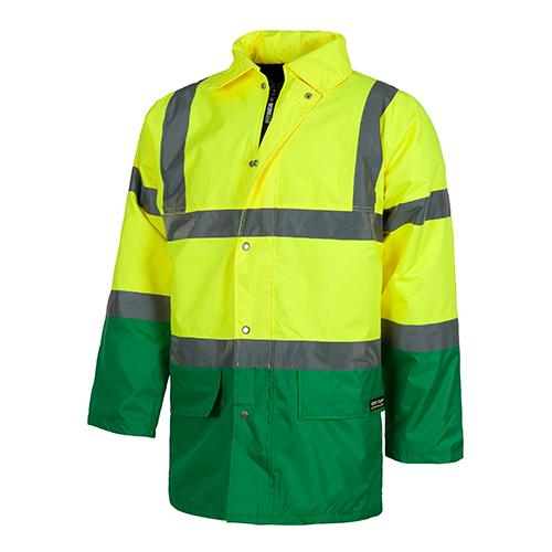 Parka alta visibilidad cuello camisero verde - RG regalos publicitarios