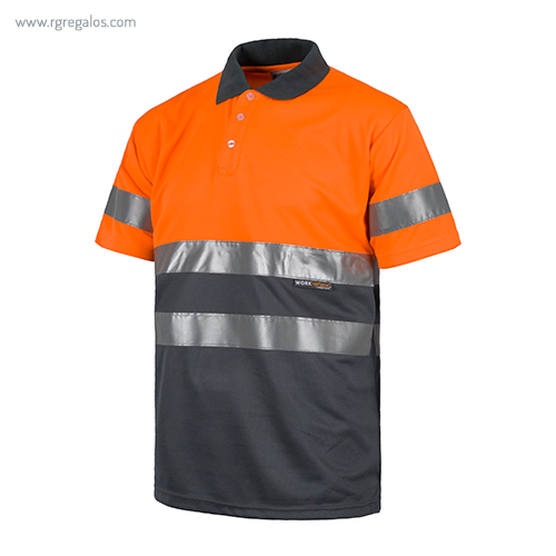 Polo alta visibilidad C870 naranja + gris MC - RG regalos publicitarios