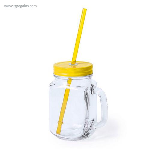 Tarro de cristal con asa amarillo - RG regalos publicitarios