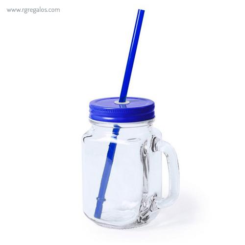 Tarro de cristal con asa azul - RG regalos publicitarios