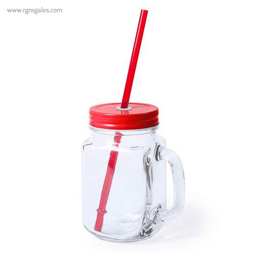 Tarro de cristal con asa rojo - RG regalos publicitarios