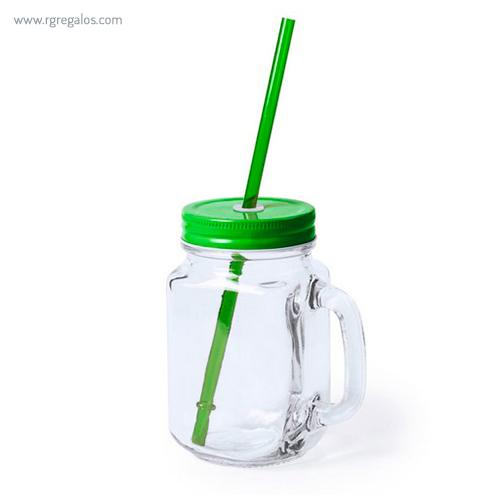 Tarro de cristal con asa verde - RG regalos publicitarios