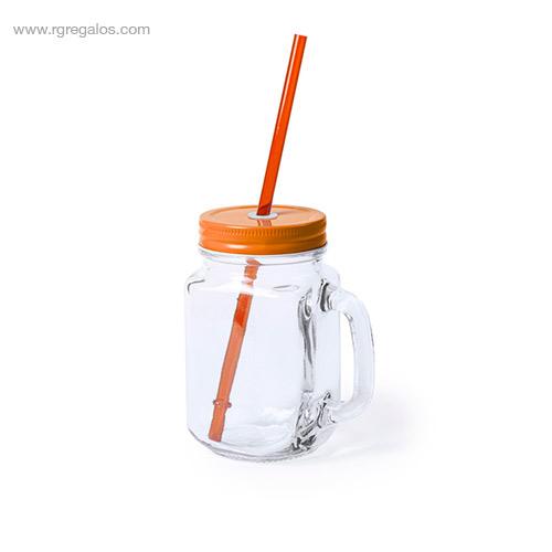 Tarro de cristal con asa naranja - RG regalos