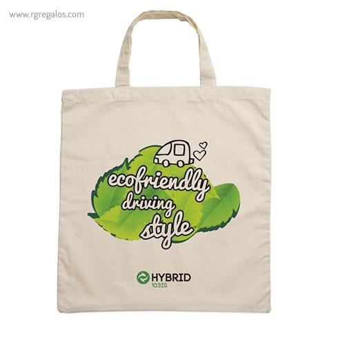 Bolsa 100% algodón ecológica asas cortas logo - RG regalos publicitarios