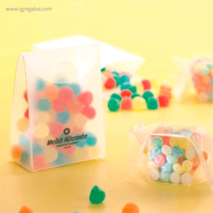 Estuche plástico con caramelos mate - RG regalos publicitarios