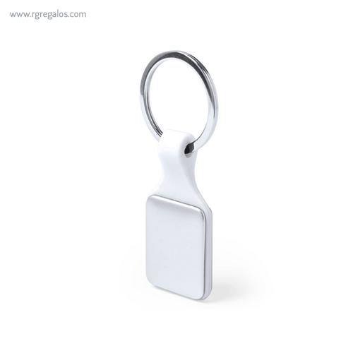Llavero de metal y silicona blanco -RG regalos publicitarios