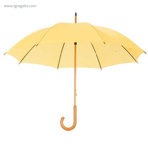 Paraguas mango y caña de madera amarillo - RG regalos publicitarios