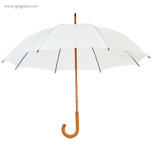 Paraguas mango y caña de madera blanco - RG regalos publicitarios