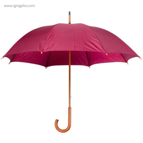 Paraguas mango y caña de madera burdeos - RG regalos publicitarios