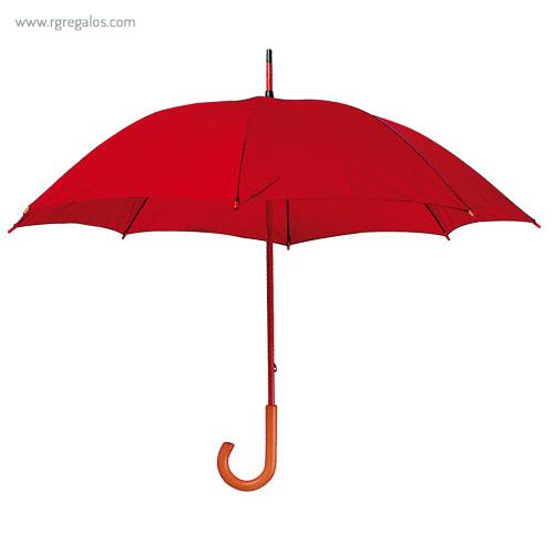 Paraguas mango y caña de madera rojo - RG regalos publicitarios