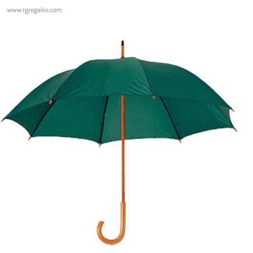 Paraguas mango y caña de madera verde - RG regalos publicitarios