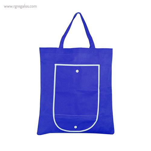 Bolsa publicitaria plegable non woven azul abierta - RG regalos publicitarios