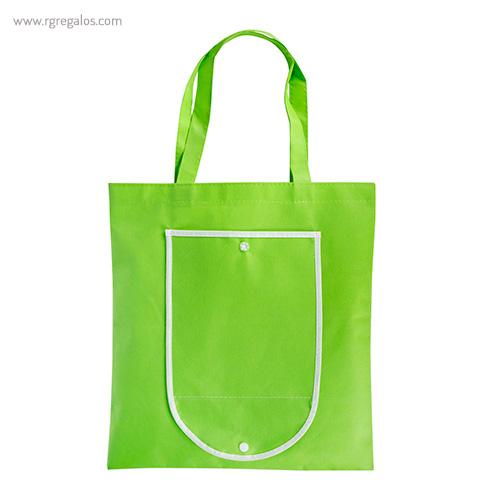 Bolsa publicitaria plegable non woven verde detalle - RG regalos publicitarios