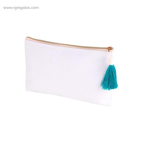 Neceser algodón con borla turquesa - RG regalos