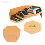 Set de pinturas con caja hexagonal con logo - RG regalos publicitarios