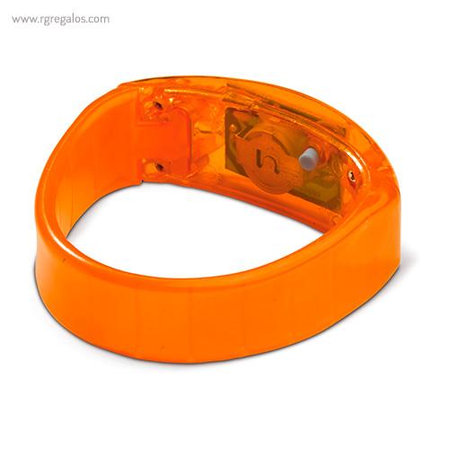 Pulsera publicitaria con luces naranja detalle - RG regalos publicitarios