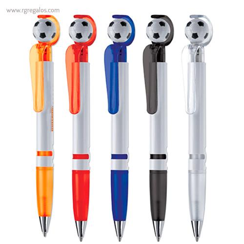 Bolígrafo con pelota de fútbol colores - RG regalos publicitarios