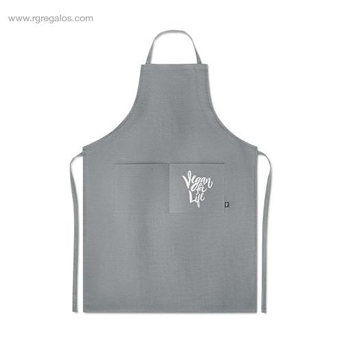 Delantal-cocina-de-cáñamo-gris-logo-RG-regalos-de-empresa