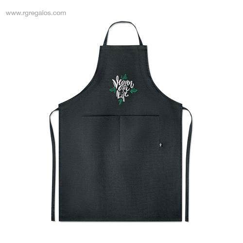 Delantal-cocina-de-cáñamo-negro-logo-RG-regalos-de-empresa
