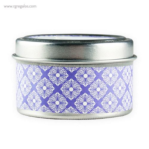Vela aromática caja metal azul - RG regalos publicitarios