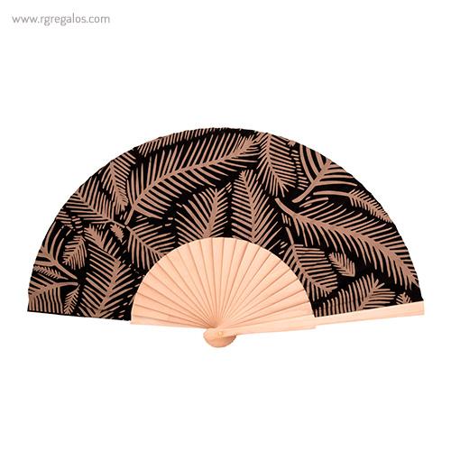 Abanico-tela-diseño-hojas-marrón-RG-regalos-publicitarios
