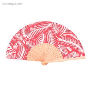 Abanico tela diseño hojas rojo - RG regalos publicitarios