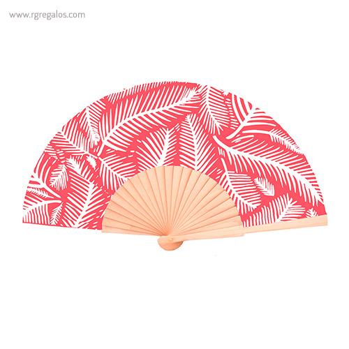 Abanico-tela-diseño-hojas-rojo-RG-regalos-publicitarios