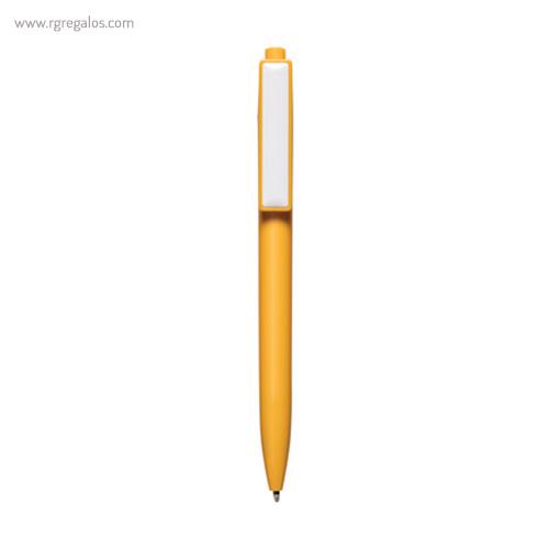 Bolígrafo plástico cierre pulsador amarillo - RG regalos publicitarios